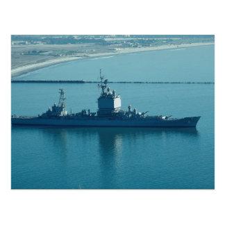 """USS Long Beach"""", CGN-9 nuclear powered cruiser, le Postcard"""