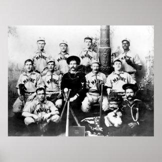 USS Maine Baseball Print