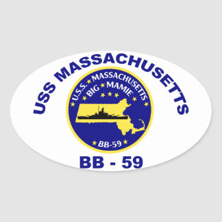 USS Massachusetts (BB-59) Oval Sticker