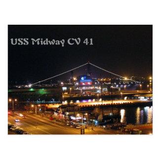 USS Midway at night Postcard