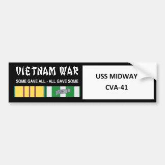 USS MIDWAY VIETNAM WAR VETERAN CAR BUMPER STICKER