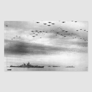 USS Missouri Flyover Surrender of Japan Rectangular Sticker