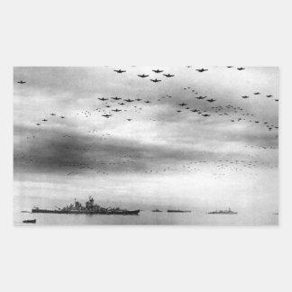 USS Missouri Flyover Surrender of Japan Rectangular Sticker