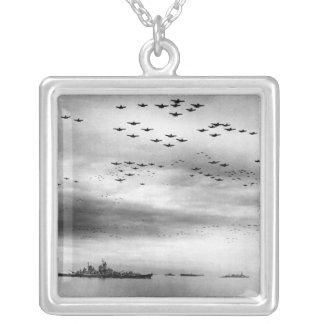 USS Missouri Flyover Surrender of Japan Square Pendant Necklace