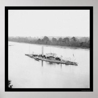 USS Monitor Casco en James River, VA 1864 Posters