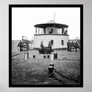 USS Monitor Catskill in Charleston Harbor, SC 1865 Print