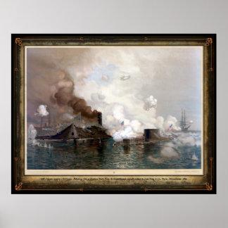 USS Monitor que dedica el CSS Virginia - 1862 Poster