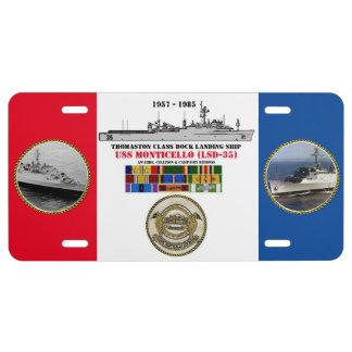 USS MONTICELLO (LSD-35) LICENSE PLATE