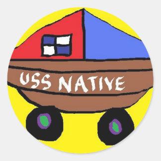 USS NATIVE CLASSIC ROUND STICKER
