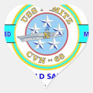 USS NIMITZ CVN-68 OLD SALT NAVY CARRIER HEART STICKER