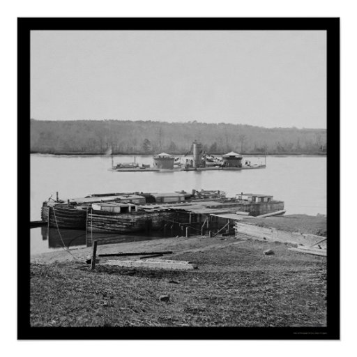USS Onondaga on the James River, VA 1864 Poster