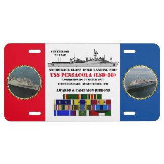 USS PENSACOLA (LSD-38) LICENSE PLATE