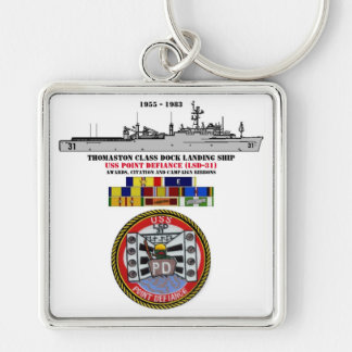 USS POINT DEFIANCE (LSD-31) Silver-Colored SQUARE KEYCHAIN