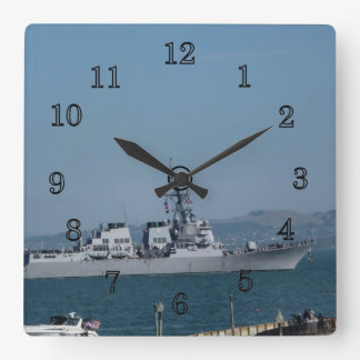 USS Preble Square Wall Clock