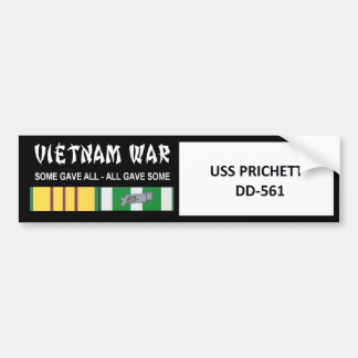 USS PRICHETT VIETNAM WAR VETERAN BUMPER STICKER
