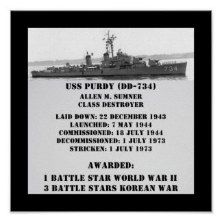 USS Purdy (DD-734) Posters