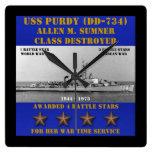 USS Purdy (DD-734) Relojes De Pared