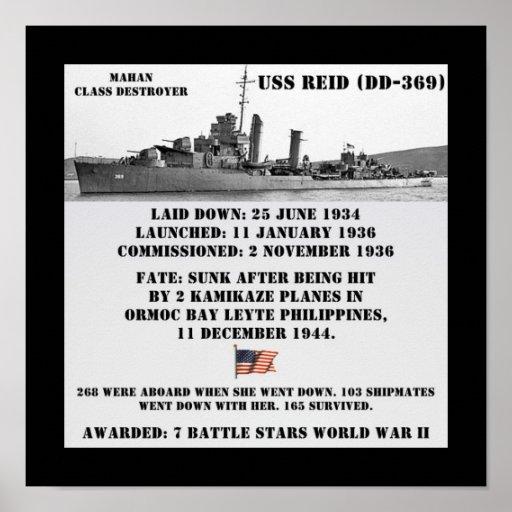 USS Reid (DD-369) Posters