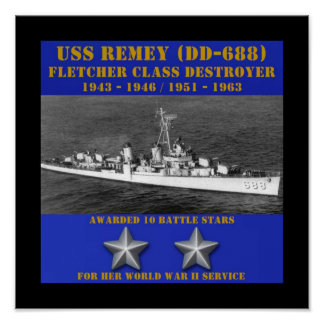 USS Remey DD-688 Posters