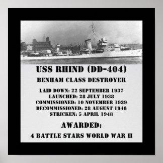 USS Rhind DD-404 Poster
