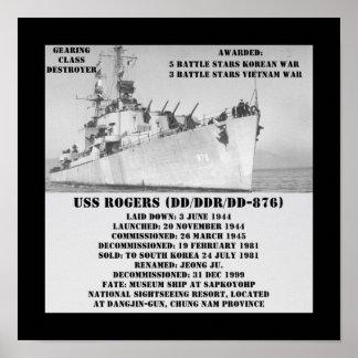 USS Rogers (DD-876) Poster