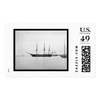 USS Sabine in Hampton Roads, VA 1864 Stamp