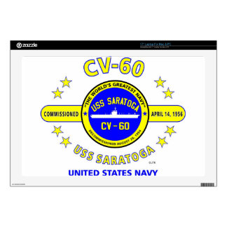 "USS SARATOGA CV-60 NAVY CARRIER DECAL FOR 17"" LAPTOP"