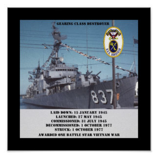 USS Sarsfield (DD-837) Posters