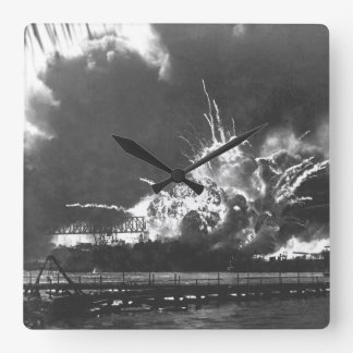 USS SHAW exploding during the Japanese_War Image Square Wall Clock