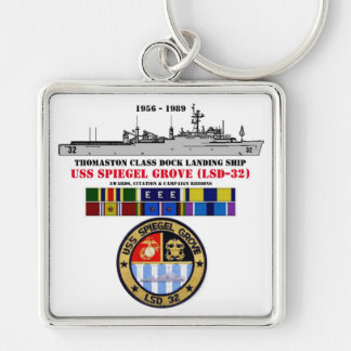 USS SPIEGEL GROVE (LSD-32) Silver-Colored SQUARE KEYCHAIN