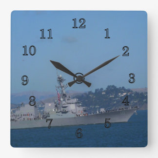 USS Spruance Square Wall Clock