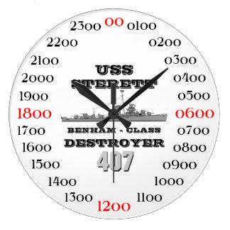 USS Sterett (DD-407) Reloj Redondo Grande