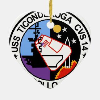 USS Ticonderoga CVA 14 Appollo 17 Adorno Navideño De Cerámica En Forma De Corazón