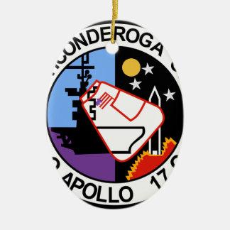 USS Ticonderoga CVA 14 Appollo 17 Adorno Navideño Ovalado De Cerámica