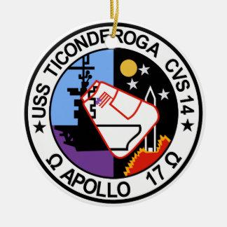 USS Ticonderoga CVA 14 Appollo 17 Adorno Navideño Redondo De Cerámica