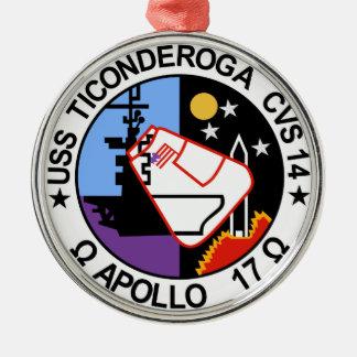 USS Ticonderoga CVA 14 Appollo 17 Adorno Navideño Redondo De Metal