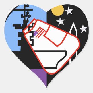 USS Ticonderoga CVA 14 Appollo 17 Heart Sticker