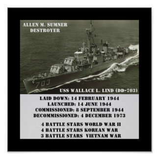 USS Wallace L. Lind (DD-703) Poster