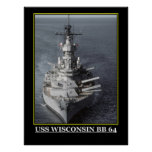 USS Wisconsin Military Ships Planes emblems Posters