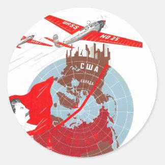 USSR CCCP Cold War Soviet Union Propaganda Posters Round Stickers