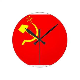 USSR Flag Round Clocks