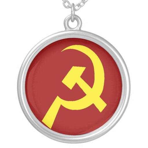 USSR Hammer Sickle Symbol Round Pendant Necklace