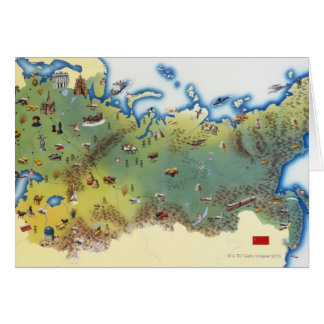 USSR, map of Union of Soviet Socialist Greeting Card