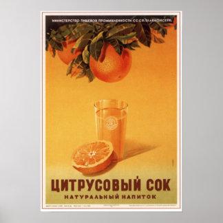 USSR Soviet Citrus Juice Advertising 1951 Poster