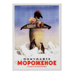 USSR Soviet Ice Cream Advertising 1951 Poster