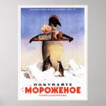 USSR Soviet Ice Cream Advertising 1951 Poster