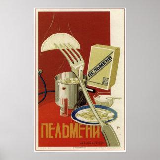 USSR Soviet Pelmeni Advertising 1936 Poster