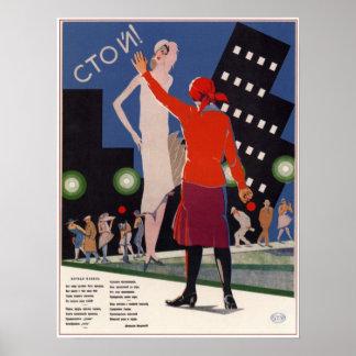 USSR Soviet Propaganda Stop night life! 1929 Poster