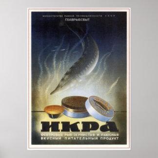 USSR Soviet Sturgeon Caviar Advertising 1952 Posters