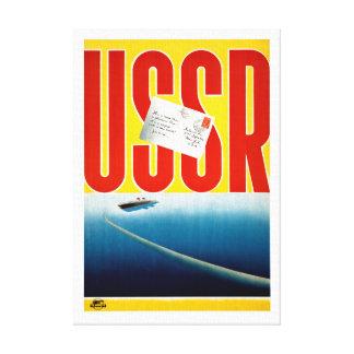 USSR Vintage Cruise Travel Poster Restored Canvas Print